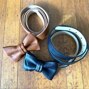 LOFT faux leather bow belts